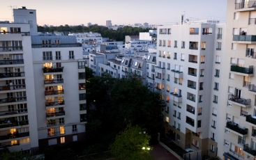 View of the social housing buildings