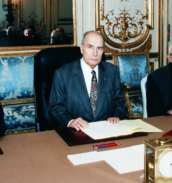 Abbé Pierre received at the Elysee by President François Mitterrand